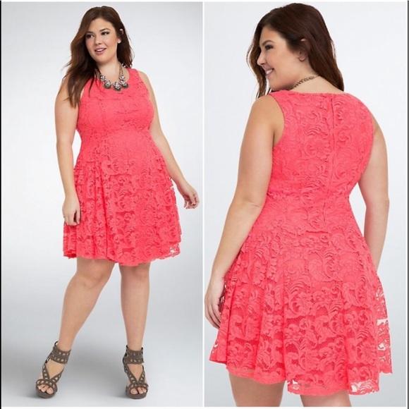 Torrid | Coral Lace V Hem Dress Plus Size 16